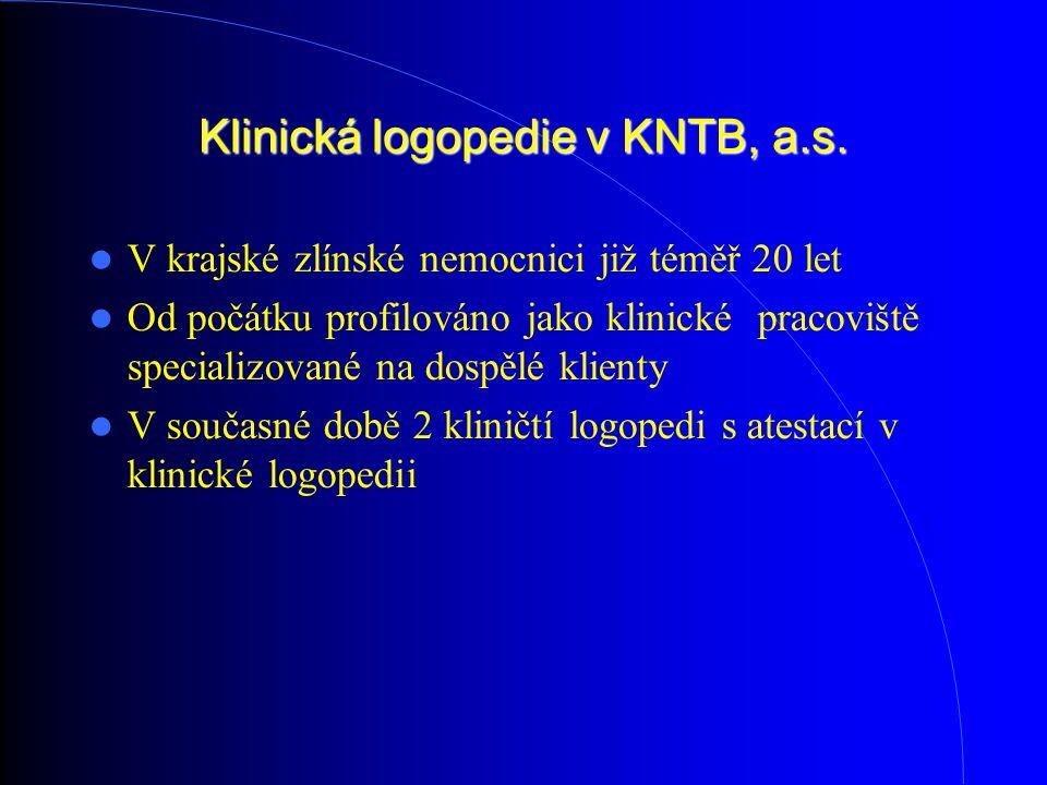 Klinická logopedie v KNTB, a.s. V krajské zlínské nemocnici již téměř 20 let Od počátku profilováno jako klinické pracoviště specializované na dospělé