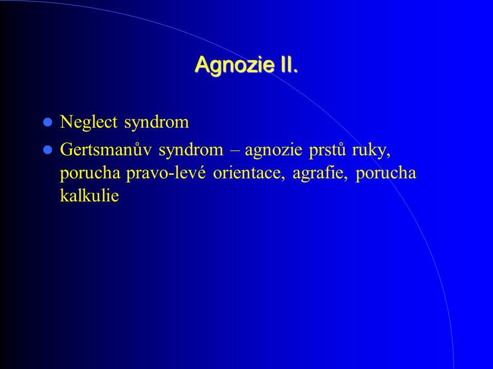 Agnozie II. Neglect syndrom Gertsmanův syndrom – agnozie prstů ruky, porucha pravo-levé orientace, agrafie, porucha kalkulie