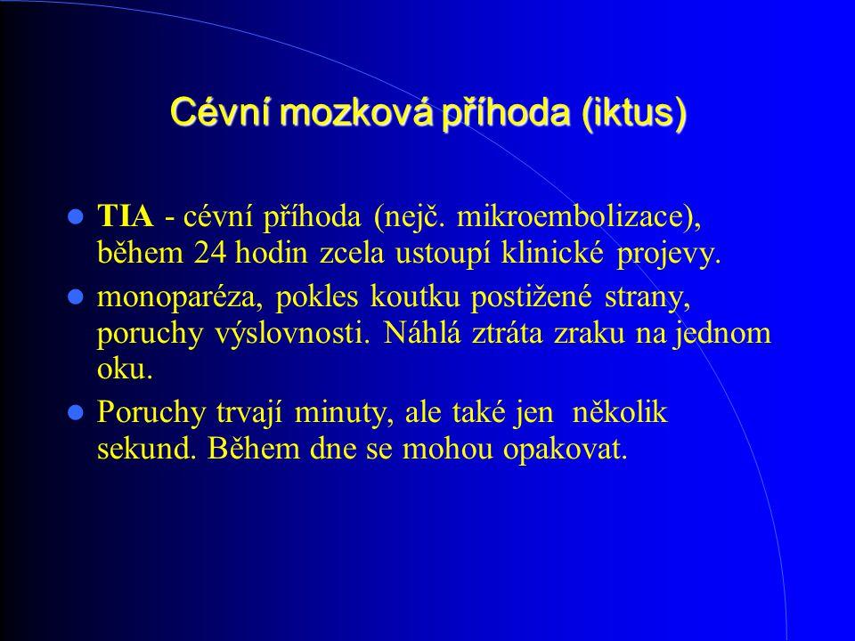 Cévní mozková příhoda (iktus) TIA - cévní příhoda (nejč. mikroembolizace), během 24 hodin zcela ustoupí klinické projevy. monoparéza, pokles koutku p