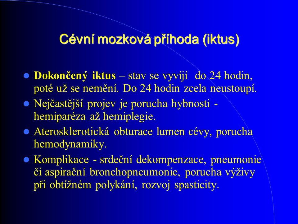 Cévní mozková příhoda (iktus) Dokončený iktus – stav se vyvíjí do 24 hodin, poté už se nemění. Do 24 hodin zcela neustoupí. Nejčastější projev je por