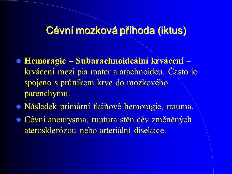Cévní mozková příhoda (iktus) Hemoragie – Subarachnoideální krvácení – krvácení mezi pia mater a arachnoideu. Často je spojeno s průnikem krve do moz