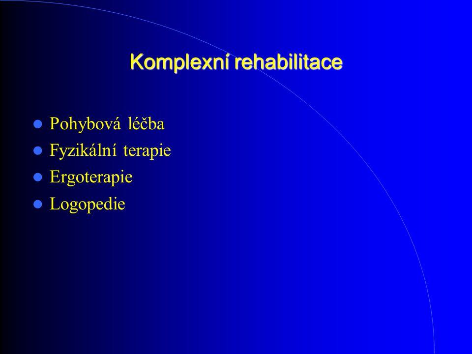 Komplexní rehabilitace Pohybová léčba Fyzikální terapie Ergoterapie Logopedie