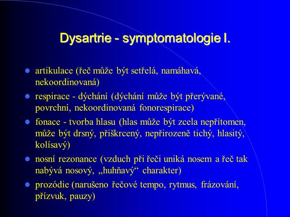Dysartrie - symptomatologie I. artikulace (řeč může být setřelá, namáhavá, nekoordinovaná) respirace - dýchání (dýchání může být přerývané, povrchní,