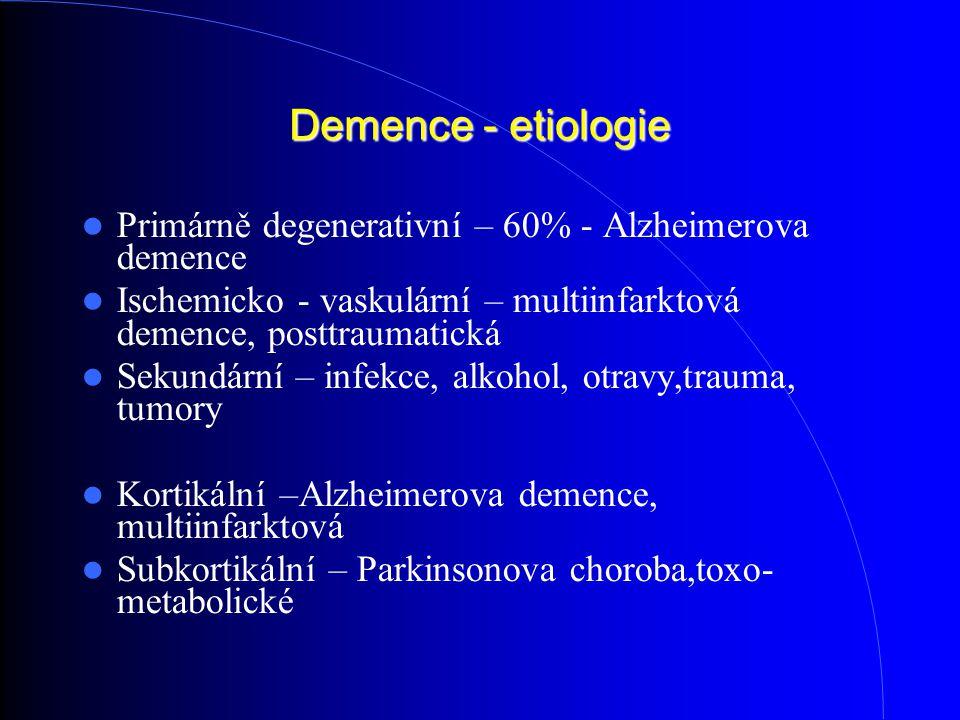 Demence - etiologie Primárně degenerativní – 60% - Alzheimerova demence Ischemicko - vaskulární – multiinfarktová demence, posttraumatická Sekundární – infekce, alkohol, otravy,trauma, tumory Kortikální –Alzheimerova demence, multiinfarktová Subkortikální – Parkinsonova choroba,toxo- metabolické