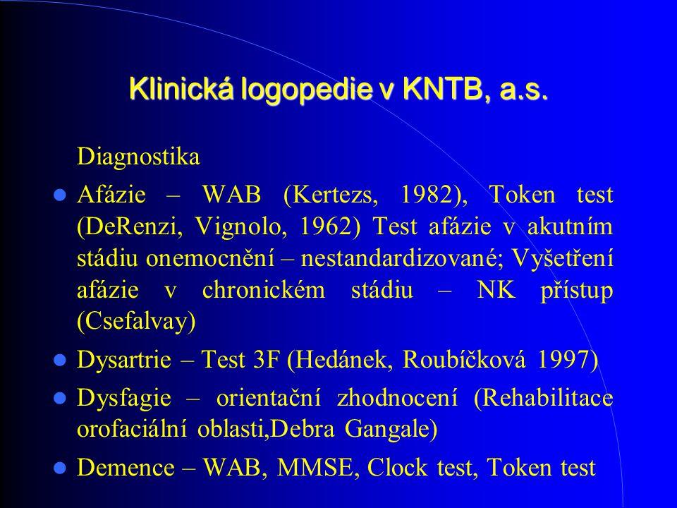 Klinická logopedie v KNTB, a.s. Diagnostika Afázie – WAB (Kertezs, 1982), Token test (DeRenzi, Vignolo, 1962) Test afázie v akutním stádiu onemocnění