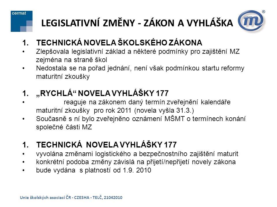 """LEGISLATIVNÍ ZMĚNY - ZÁKON A VYHLÁŠKA Unie školských asociací ČR - CZESHA - TELČ, 21042010 1.TECHNICKÁ NOVELA ŠKOLSKÉHO ZÁKONA Zlepšovala legislativní základ a některé podmínky pro zajištění MZ zejména na straně škol Nedostala se na pořad jednání, není však podmínkou startu reformy maturitní zkoušky 1.""""RYCHLÁ NOVELA VYHLÁŠKY 177 reaguje na zákonem daný termín zveřejnění kalendáře maturitní zkoušky pro rok 2011 (novela vyšla 31.3.) Současně s ní bylo zveřejněno oznámení MŠMT o termínech konání společné části MZ 1.TECHNICKÁ NOVELA VYHLÁŠKY 177 vyvolána změnami logistického a bezpečnostního zajištění maturit konkrétní podoba změny závislá na přijetí/nepřijetí novely zákona bude vydána s platností od 1.9."""