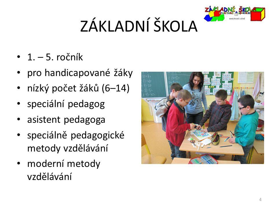 ZÁKLADNÍ ŠKOLA 1. – 5. ročník pro handicapované žáky nízký počet žáků (6–14) speciální pedagog asistent pedagoga speciálně pedagogické metody vzdělává
