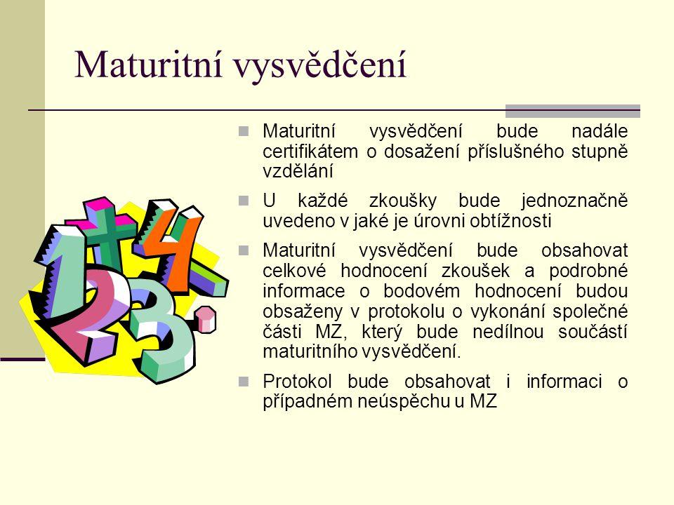 Maturitní vysvědčení Maturitní vysvědčení bude nadále certifikátem o dosažení příslušného stupně vzdělání U každé zkoušky bude jednoznačně uvedeno v jaké je úrovni obtížnosti Maturitní vysvědčení bude obsahovat celkové hodnocení zkoušek a podrobné informace o bodovém hodnocení budou obsaženy v protokolu o vykonání společné části MZ, který bude nedílnou součástí maturitního vysvědčení.