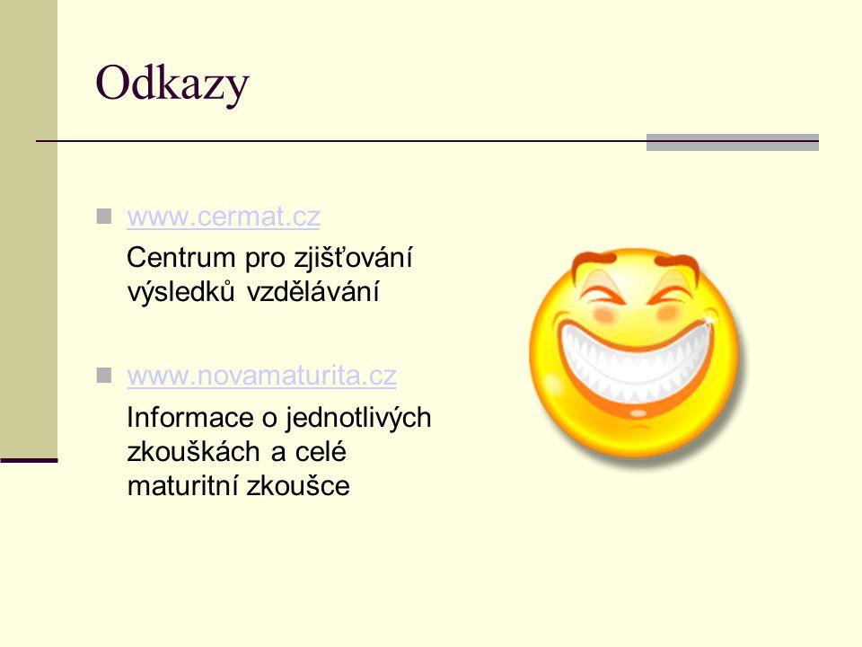 Odkazy www.cermat.cz Centrum pro zjišťování výsledků vzdělávání www.novamaturita.cz www.novamaturita.cz Informace o jednotlivých zkouškách a celé maturitní zkoušce