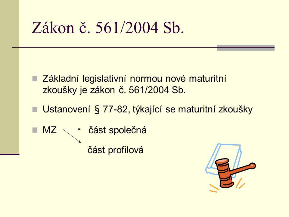 Zákon č.561/2004 Sb. Základní legislativní normou nové maturitní zkoušky je zákon č.