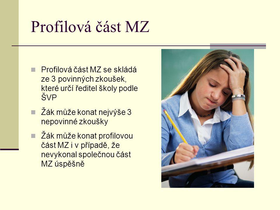 Profilová část MZ Profilová část MZ se skládá ze 3 povinných zkoušek, které určí ředitel školy podle ŠVP Žák může konat nejvýše 3 nepovinné zkoušky Žák může konat profilovou část MZ i v případě, že nevykonal společnou část MZ úspěšně
