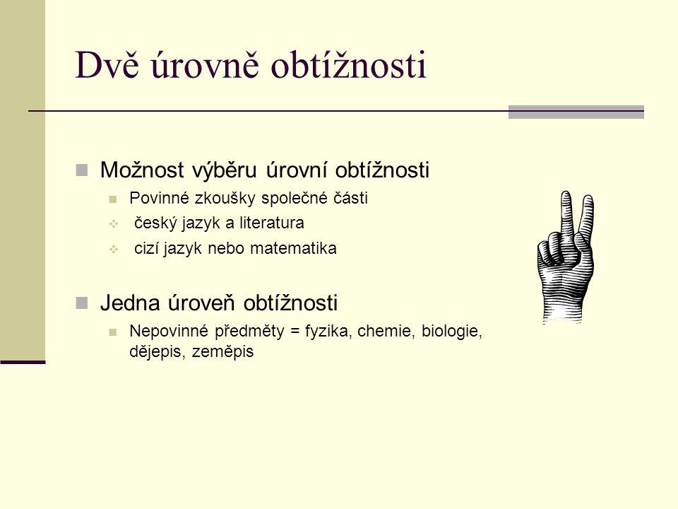 Dvě úrovně obtížnosti Možnost výběru úrovní obtížnosti Povinné zkoušky společné části  český jazyk a literatura  cizí jazyk nebo matematika Jedna úroveň obtížnosti Nepovinné předměty = fyzika, chemie, biologie, dějepis, zeměpis