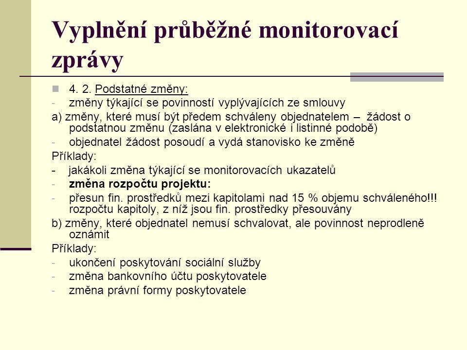 Vyplnění průběžné monitorovací zprávy 4. 2. Podstatné změny: - změny týkající se povinností vyplývajících ze smlouvy a) změny, které musí být předem s