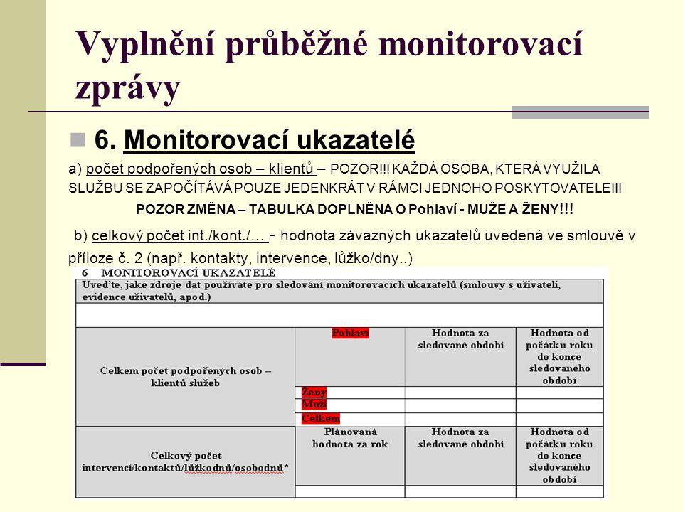 Vyplnění průběžné monitorovací zprávy 6. Monitorovací ukazatelé a) počet podpořených osob – klientů – POZOR!!! KAŽDÁ OSOBA, KTERÁ VYUŽILA SLUŽBU SE ZA