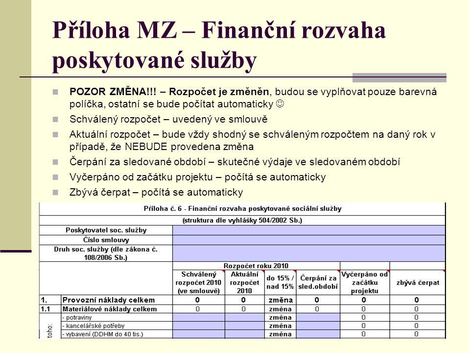 Příloha MZ – Finanční rozvaha poskytované služby POZOR ZMĚNA!!! – Rozpočet je změněn, budou se vyplňovat pouze barevná políčka, ostatní se bude počíta
