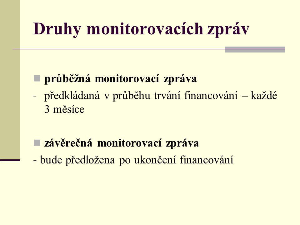 Druhy monitorovacích zpráv průběžná monitorovací zpráva - předkládaná v průběhu trvání financování – každé 3 měsíce závěrečná monitorovací zpráva - bu