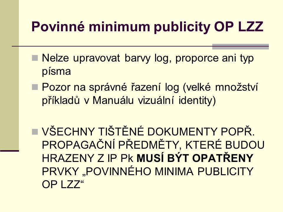 Povinné minimum publicity OP LZZ Nelze upravovat barvy log, proporce ani typ písma Pozor na správné řazení log (velké množství příkladů v Manuálu vizu