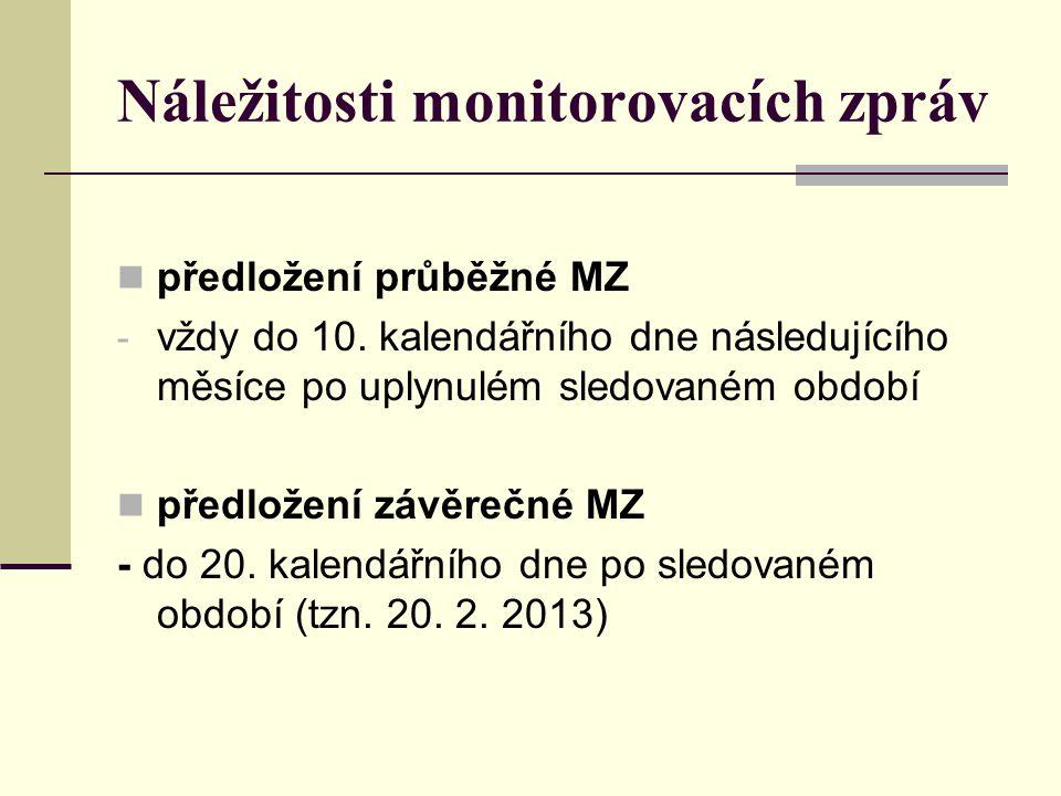 Náležitosti monitorovacích zpráv předložení průběžné MZ - vždy do 10. kalendářního dne následujícího měsíce po uplynulém sledovaném období předložení