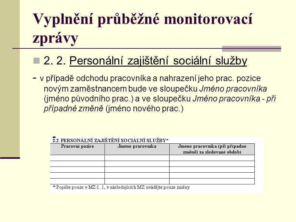 Vyplnění průběžné monitorovací zprávy 2. 2. Personální zajištění sociální služby - v případě odchodu pracovníka a nahrazení jeho prac. pozice novým za