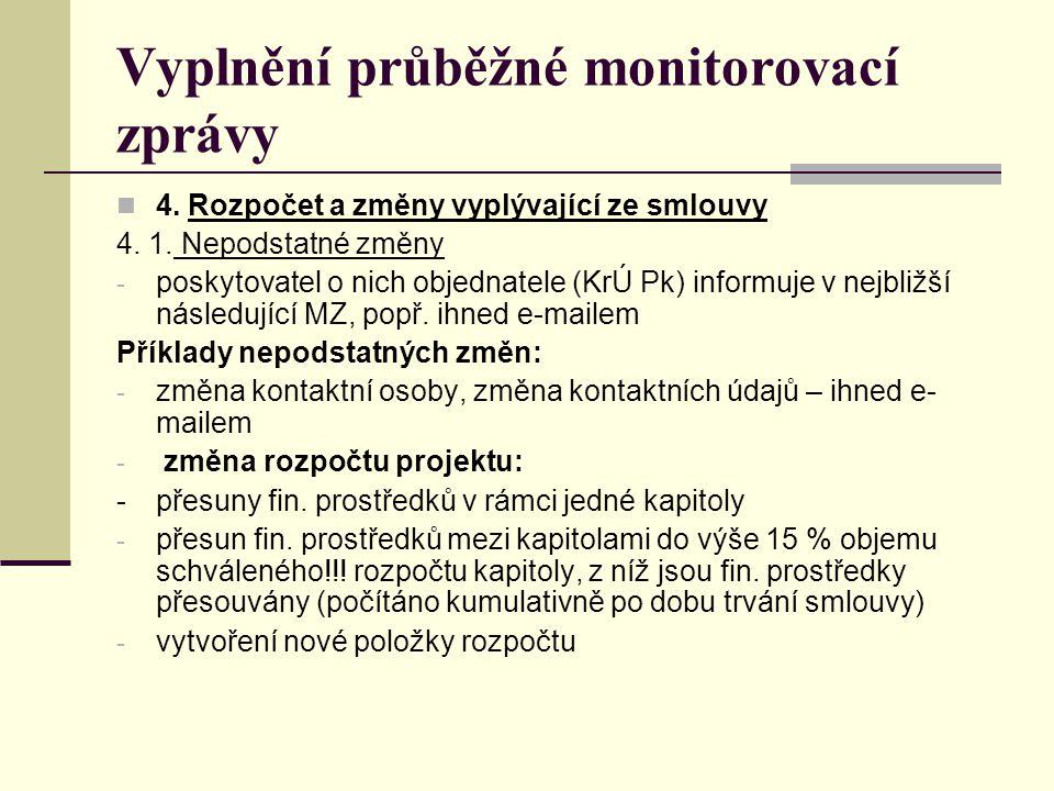 Vyplnění průběžné monitorovací zprávy 4.2.