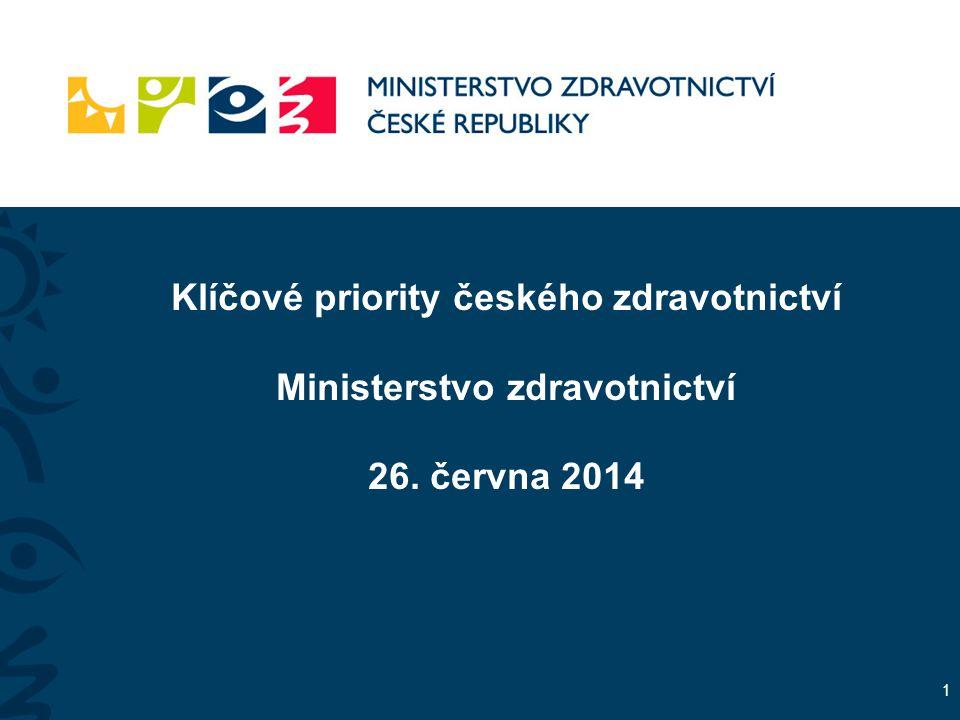 Klíčové priority českého zdravotnictví Ministerstvo zdravotnictví 26. června 2014 1