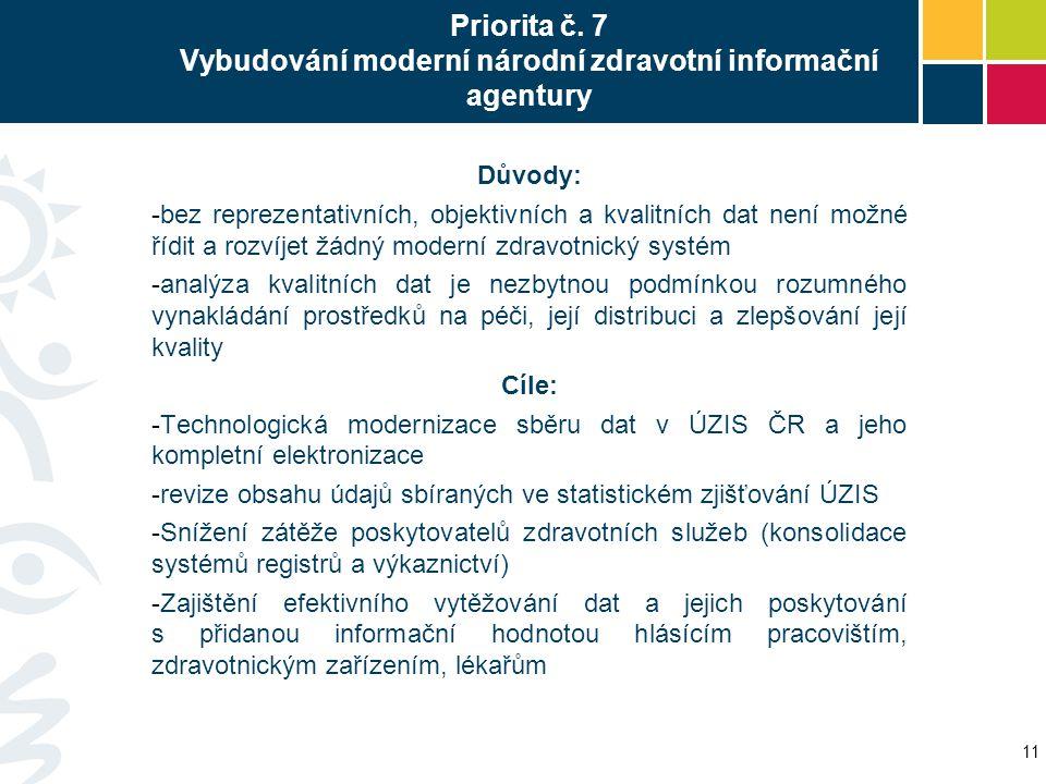 Priorita č. 7 Vybudování moderní národní zdravotní informační agentury Důvody: -bez reprezentativních, objektivních a kvalitních dat není možné řídit