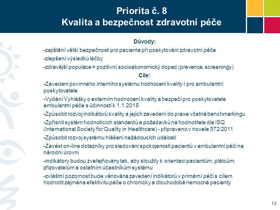 Priorita č. 8 Kvalita a bezpečnost zdravotní péče Důvody: -zajištění větší bezpečnosti pro pacienta při poskytování zdravotní péče -zlepšení výsledků