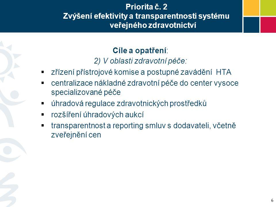 Priorita č. 2 Zvýšení efektivity a transparentnosti systému veřejného zdravotnictví Cíle a opatření: 2) V oblasti zdravotní péče:  zřízení přístrojov