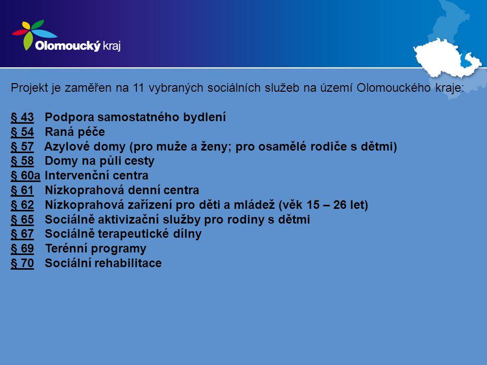 Projekt je zaměřen na 11 vybraných sociálních služeb na území Olomouckého kraje: § 43 Podpora samostatného bydlení § 54 Raná péče § 57 Azylové domy (pro muže a ženy; pro osamělé rodiče s dětmi) § 58 Domy na půli cesty § 60a Intervenční centra § 61 Nízkoprahová denní centra § 62 Nízkoprahová zařízení pro děti a mládež (věk 15 – 26 let) § 65 Sociálně aktivizační služby pro rodiny s dětmi § 67 Sociálně terapeutické dílny § 69 Terénní programy § 70 Sociální rehabilitace