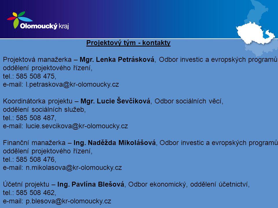 Projektový tým - kontakty Projektová manažerka – Mgr.