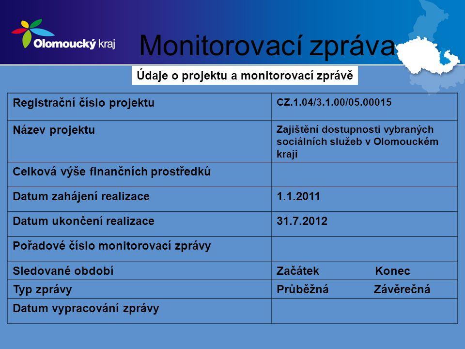 Monitorovací zpráva Registrační číslo projektu CZ.1.04/3.1.00/05.00015 Název projektu Zajištění dostupnosti vybraných sociálních služeb v Olomouckém kraji Celková výše finančních prostředků Datum zahájení realizace1.1.2011 Datum ukončení realizace31.7.2012 Pořadové číslo monitorovací zprávy Sledované obdobíZačátek Konec Typ zprávyPrůběžná Závěrečná Datum vypracování zprávy Údaje o projektu a monitorovací zprávě