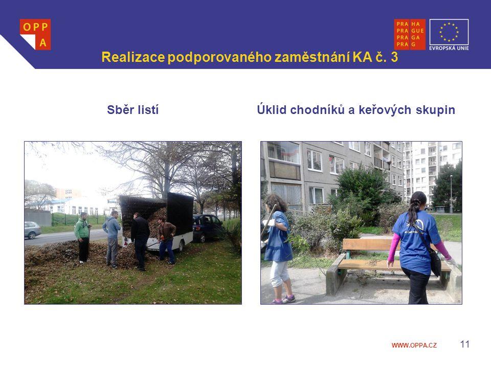 WWW.OPPA.CZ Realizace podporovaného zaměstnání KA č. 3 Sběr listíÚklid chodníků a keřových skupin 11