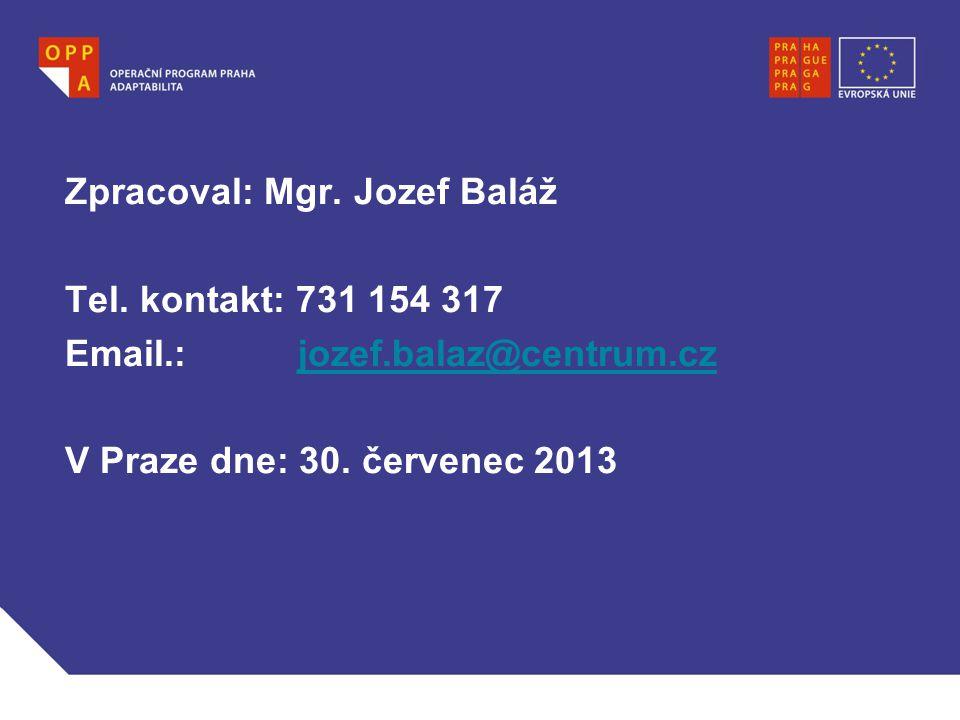 Zpracoval: Mgr. Jozef Baláž Tel. kontakt: 731 154 317 Email.: jozef.balaz@centrum.czjozef.balaz@centrum.cz V Praze dne: 30. červenec 2013 Jméno a příj