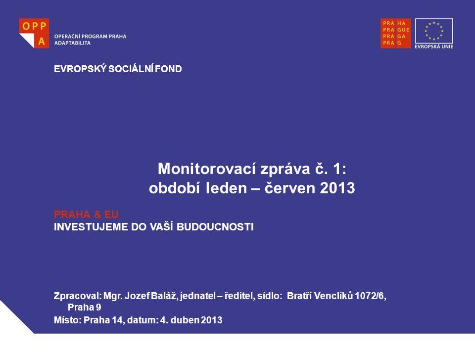 Monitorovací zpráva č. 1: období leden – červen 2013 EVROPSKÝ SOCIÁLNÍ FOND PRAHA & EU INVESTUJEME DO VAŠÍ BUDOUCNOSTI Zpracoval: Mgr. Jozef Baláž, je