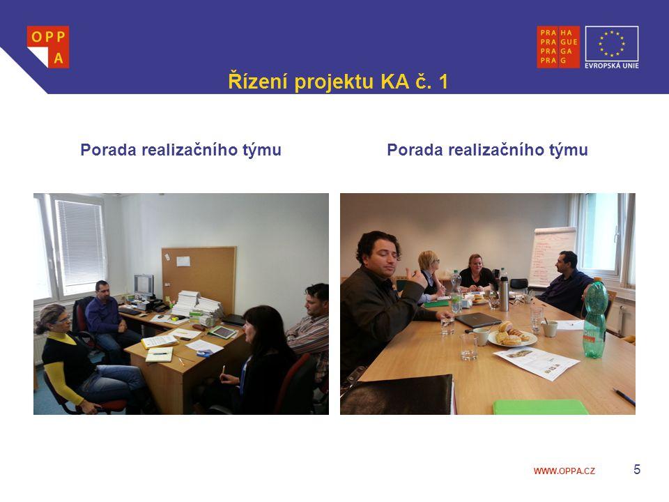 WWW.OPPA.CZ Řízení projektu KA č. 1 Porada realizačního týmu 5