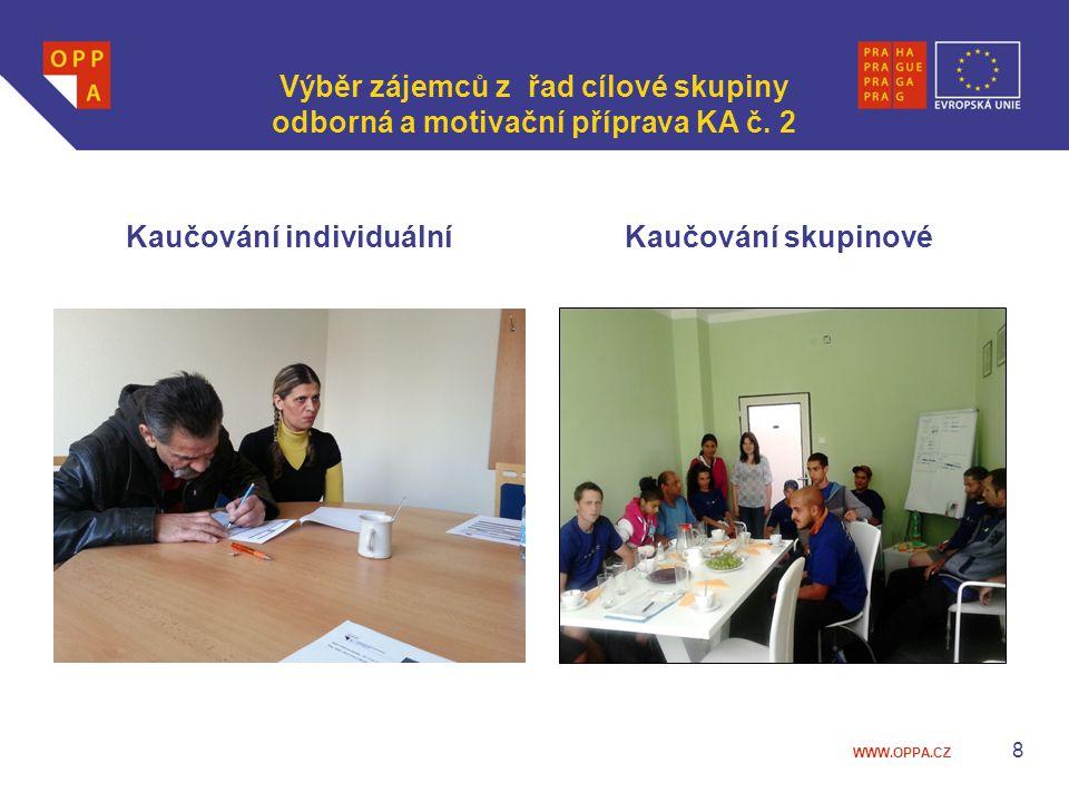 WWW.OPPA.CZ Výběr zájemců z řad cílové skupiny odborná a motivační příprava KA č. 2 Kaučování individuálníKaučování skupinové 8