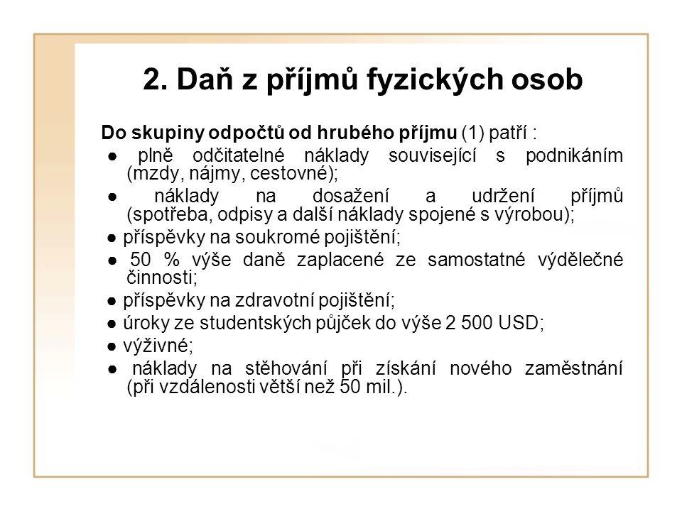 2. Daň z příjmů fyzických osob Do skupiny odpočtů od hrubého příjmu (1) patří : ● plně odčitatelné náklady související s podnikáním (mzdy, nájmy, cest