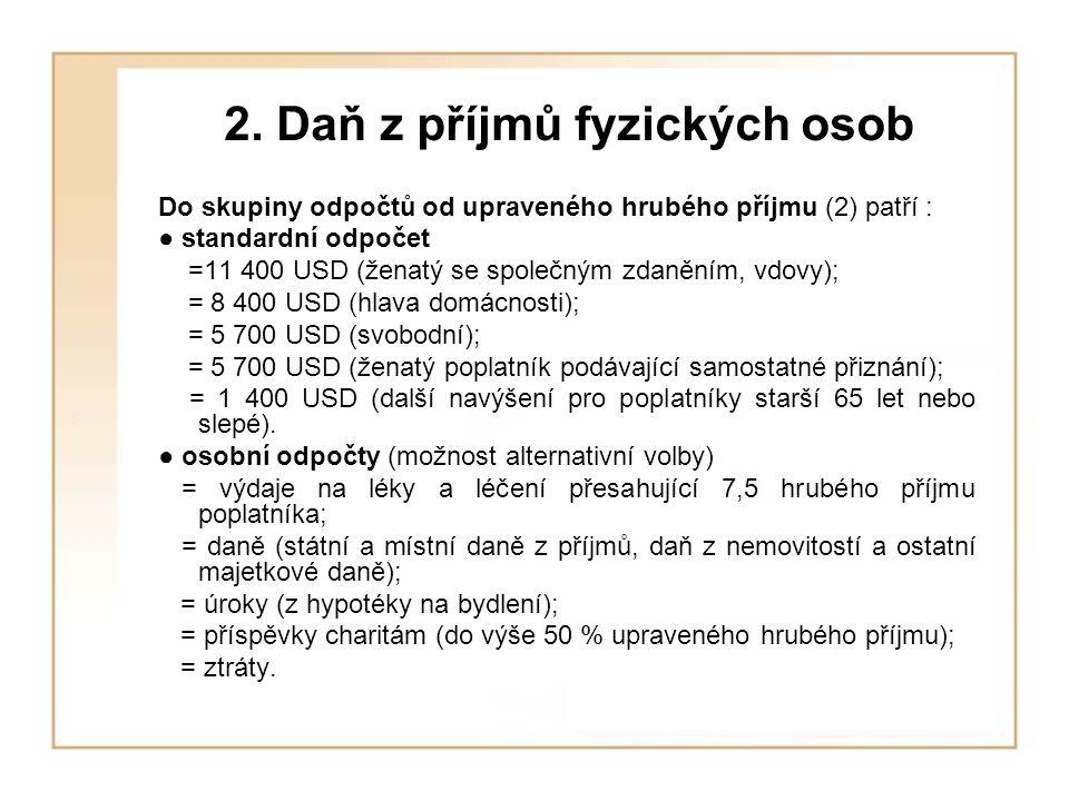2. Daň z příjmů fyzických osob Do skupiny odpočtů od upraveného hrubého příjmu (2) patří : ● standardní odpočet =11 400 USD (ženatý se společným zdaně