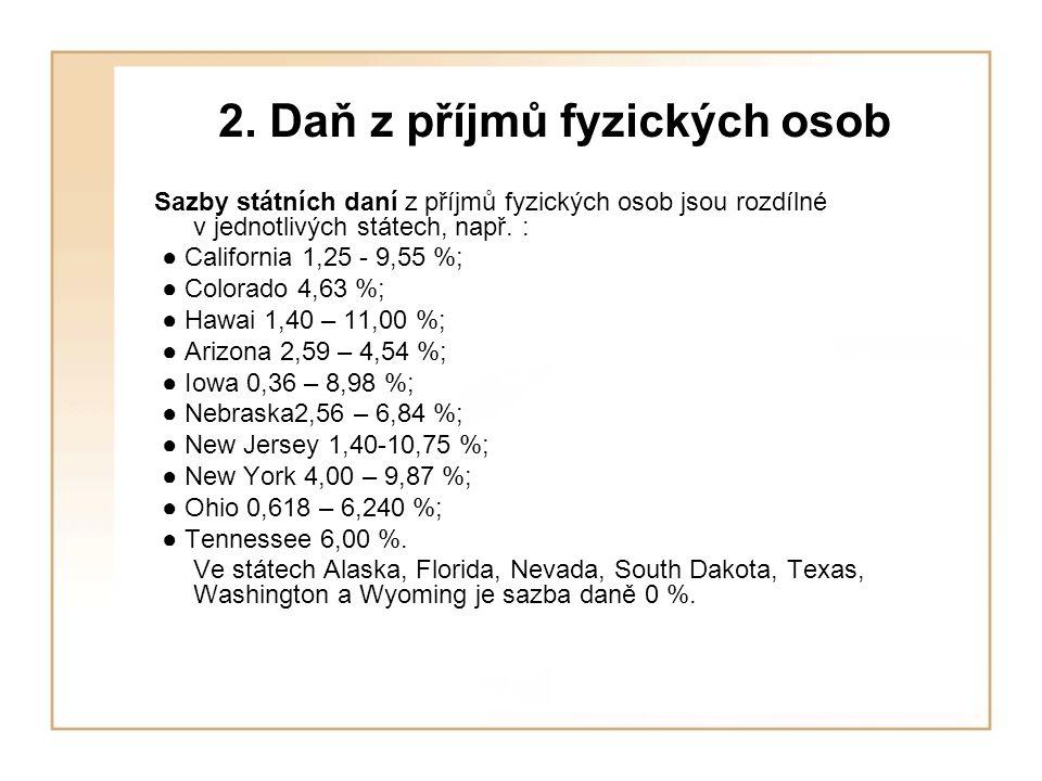 2. Daň z příjmů fyzických osob Sazby státních daní z příjmů fyzických osob jsou rozdílné v jednotlivých státech, např. : ● California 1,25 - 9,55 %; ●