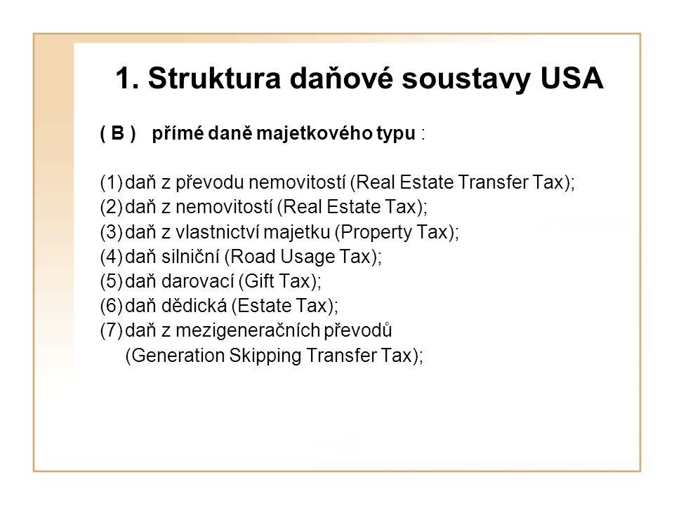 1. Struktura daňové soustavy USA ( B ) přímé daně majetkového typu : (1)daň z převodu nemovitostí (Real Estate Transfer Tax); (2)daň z nemovitostí (Re