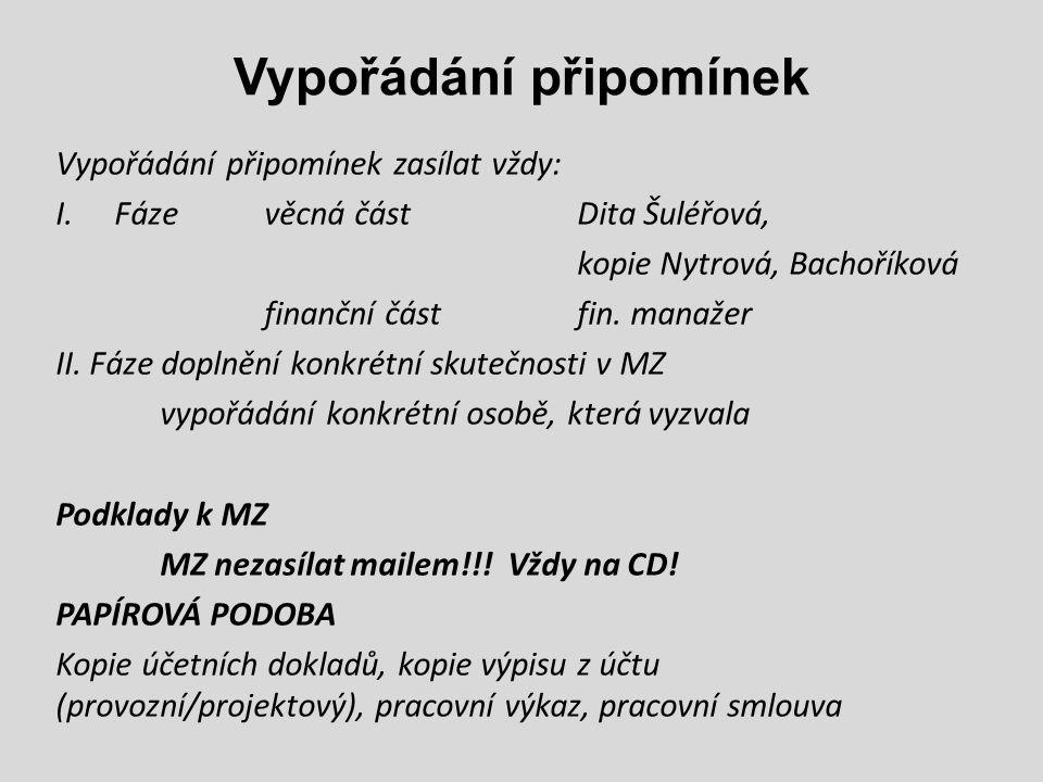 Vypořádání připomínek Vypořádání připomínek zasílat vždy: I.Fázevěcná částDita Šuléřová, kopie Nytrová, Bachoříková finanční částfin.