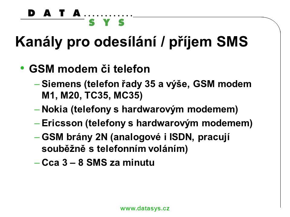 www.datasys.cz Kanály pro odesílání / příjem SMS GSM modem či telefon –Siemens (telefon řady 35 a výše, GSM modem M1, M20, TC35, MC35) –Nokia (telefon