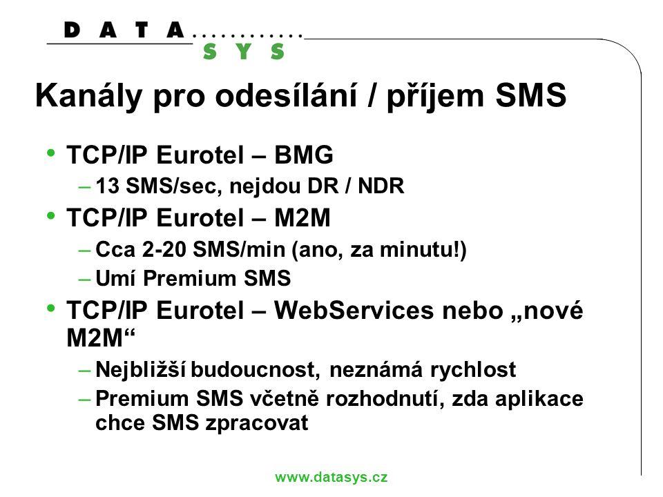 www.datasys.cz Kanály pro odesílání / příjem SMS TCP/IP Eurotel – BMG –13 SMS/sec, nejdou DR / NDR TCP/IP Eurotel – M2M –Cca 2-20 SMS/min (ano, za min