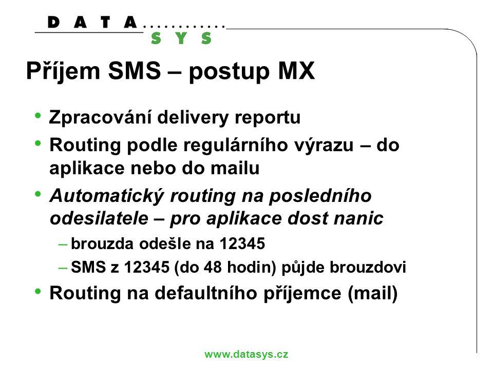 www.datasys.cz Příjem SMS – postup MX Zpracování delivery reportu Routing podle regulárního výrazu – do aplikace nebo do mailu Automatický routing na