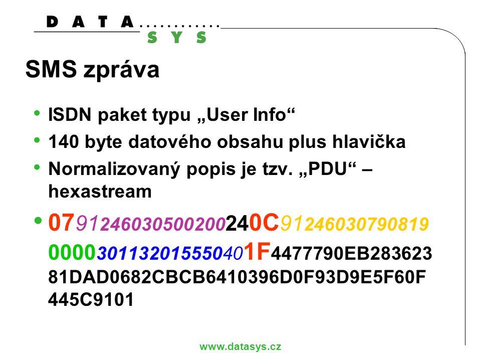"www.datasys.cz SMS zpráva ISDN paket typu ""User Info"" 140 byte datového obsahu plus hlavička Normalizovaný popis je tzv. ""PDU"" – hexastream 07 91 2460"