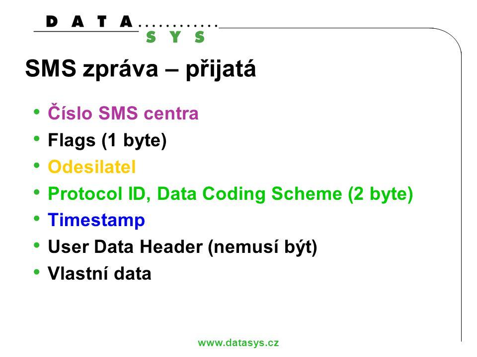 www.datasys.cz SMS zpráva – přijatá Číslo SMS centra Flags (1 byte) Odesilatel Protocol ID, Data Coding Scheme (2 byte) Timestamp User Data Header (ne