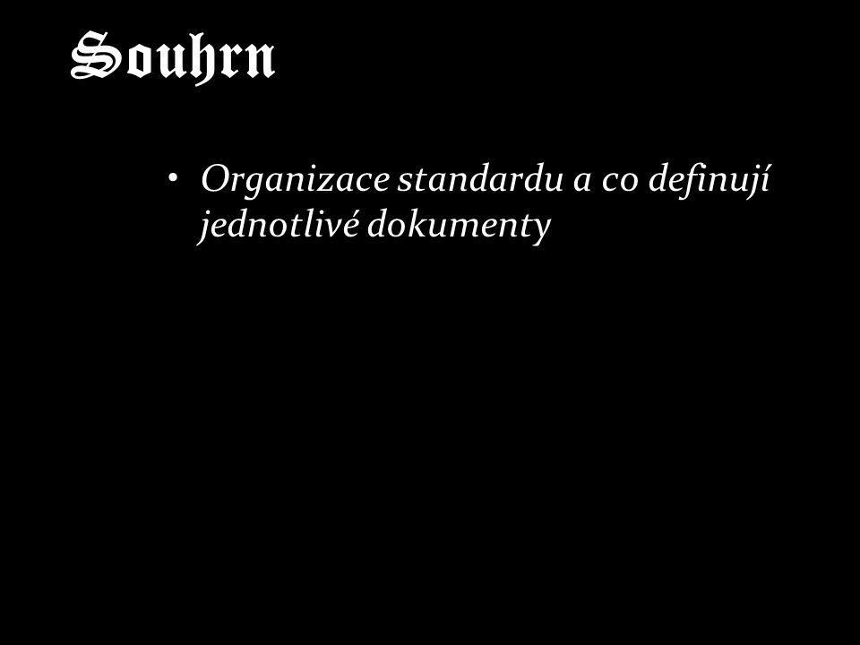 Souhrn Organizace standardu a co definují jednotlivé dokumenty