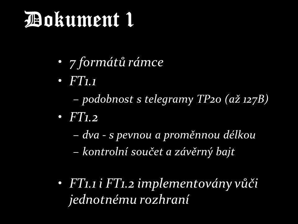Dokument 1 7 formátů rámce FT1.1 –podobnost s telegramy TP20 (až 127B) FT1.2 –dva - s pevnou a proměnnou délkou –kontrolní součet a závěrný bajt FT1.1