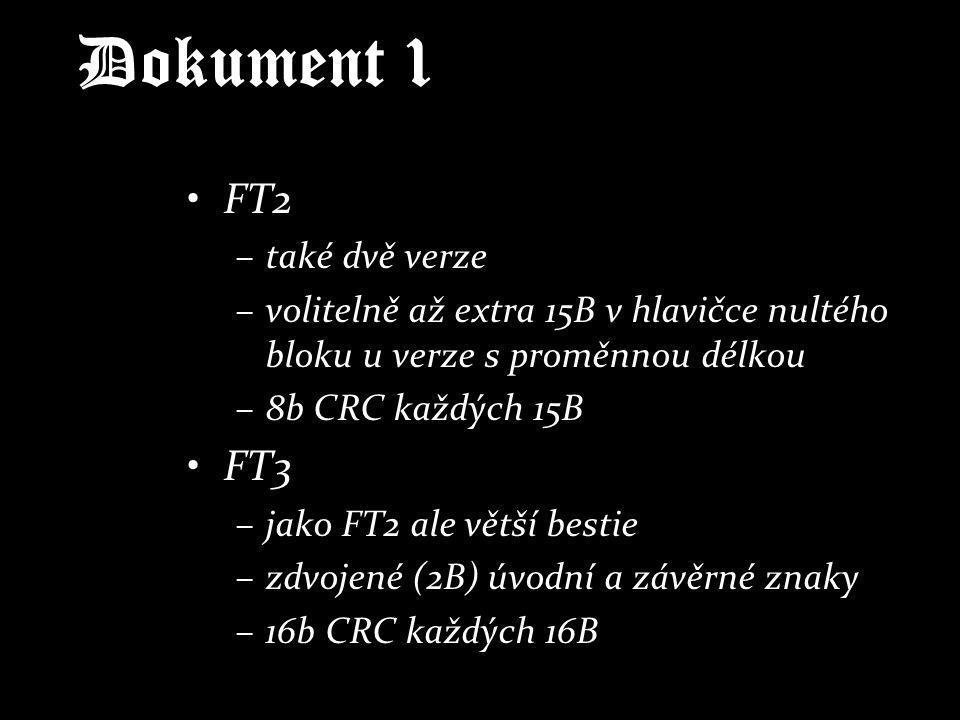 Dokument 1 FT2 –také dvě verze –volitelně až extra 15B v hlavičce nultého bloku u verze s proměnnou délkou –8b CRC každých 15B FT3 –jako FT2 ale větší