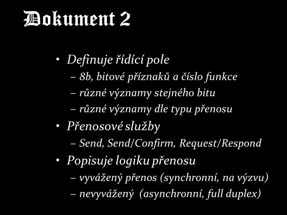 Dokument 2 Definuje řídící pole –8b, bitové příznaků a číslo funkce –různé významy stejného bitu –různé významy dle typu přenosu Přenosové služby –Sen